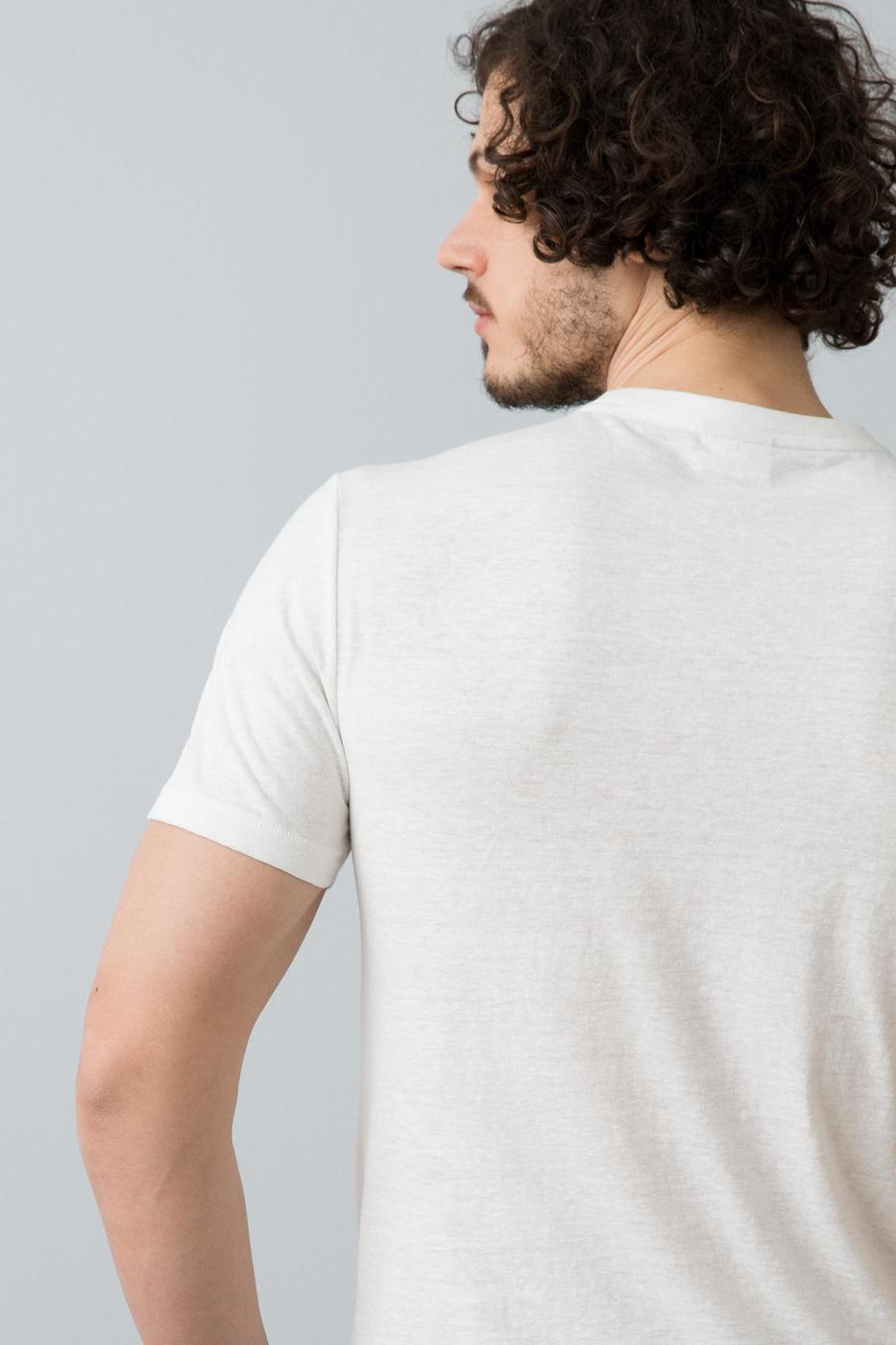 Beyaz Bisiklet Yaka Slim T-Shirt