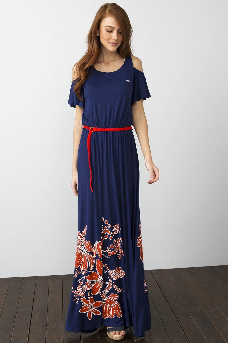 Lacivert Örme Elbise