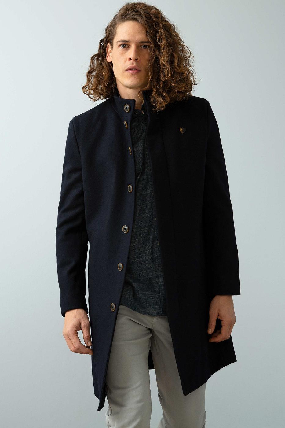 Lacivert Uzun Slim Kaban