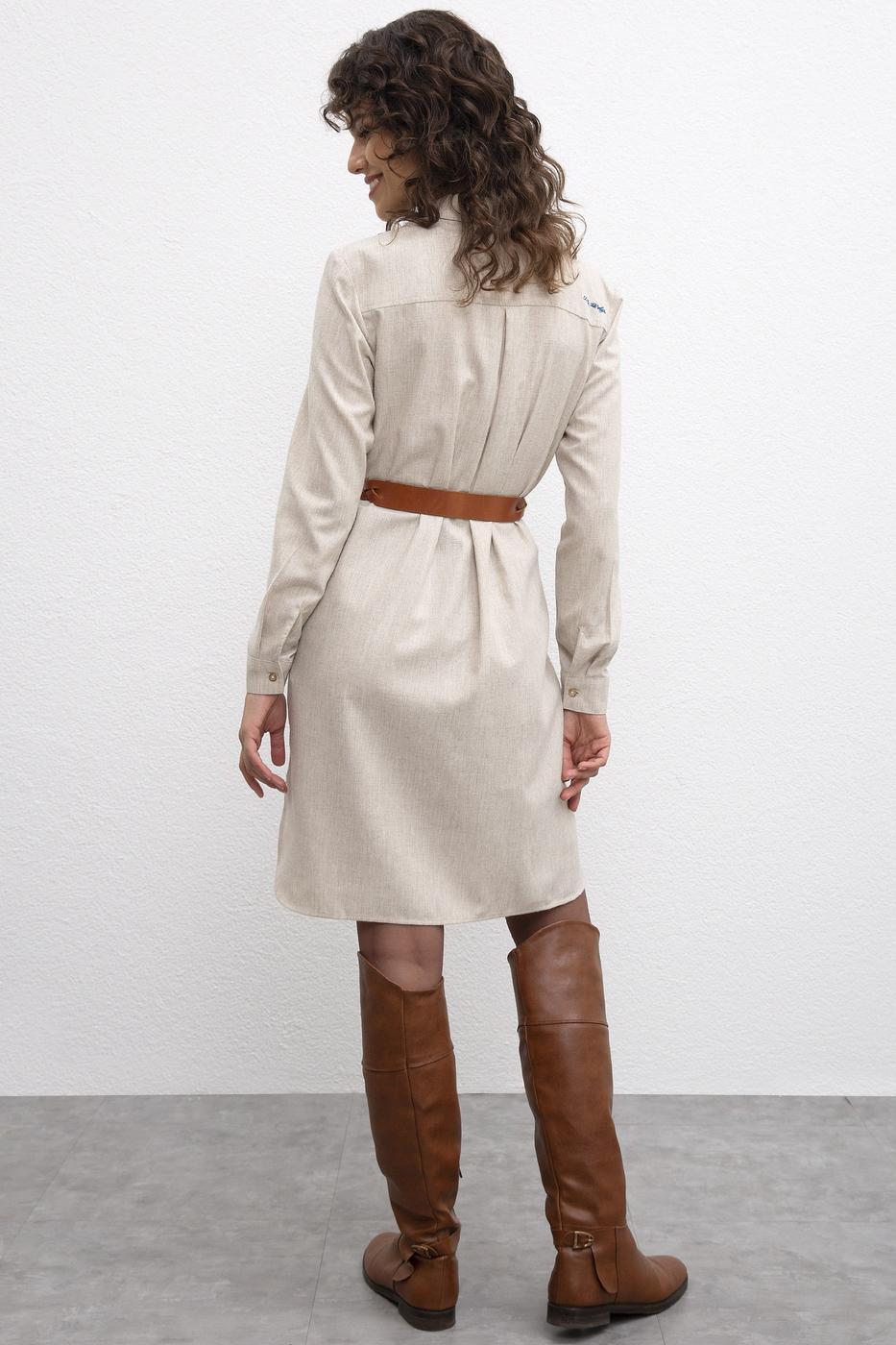 Beyaz Dokuma Elbise