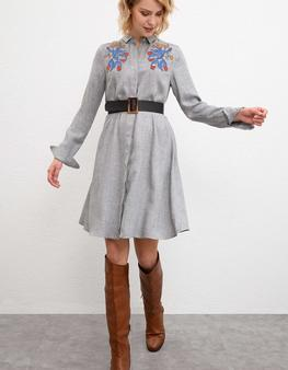 Gri Dokuma Elbise