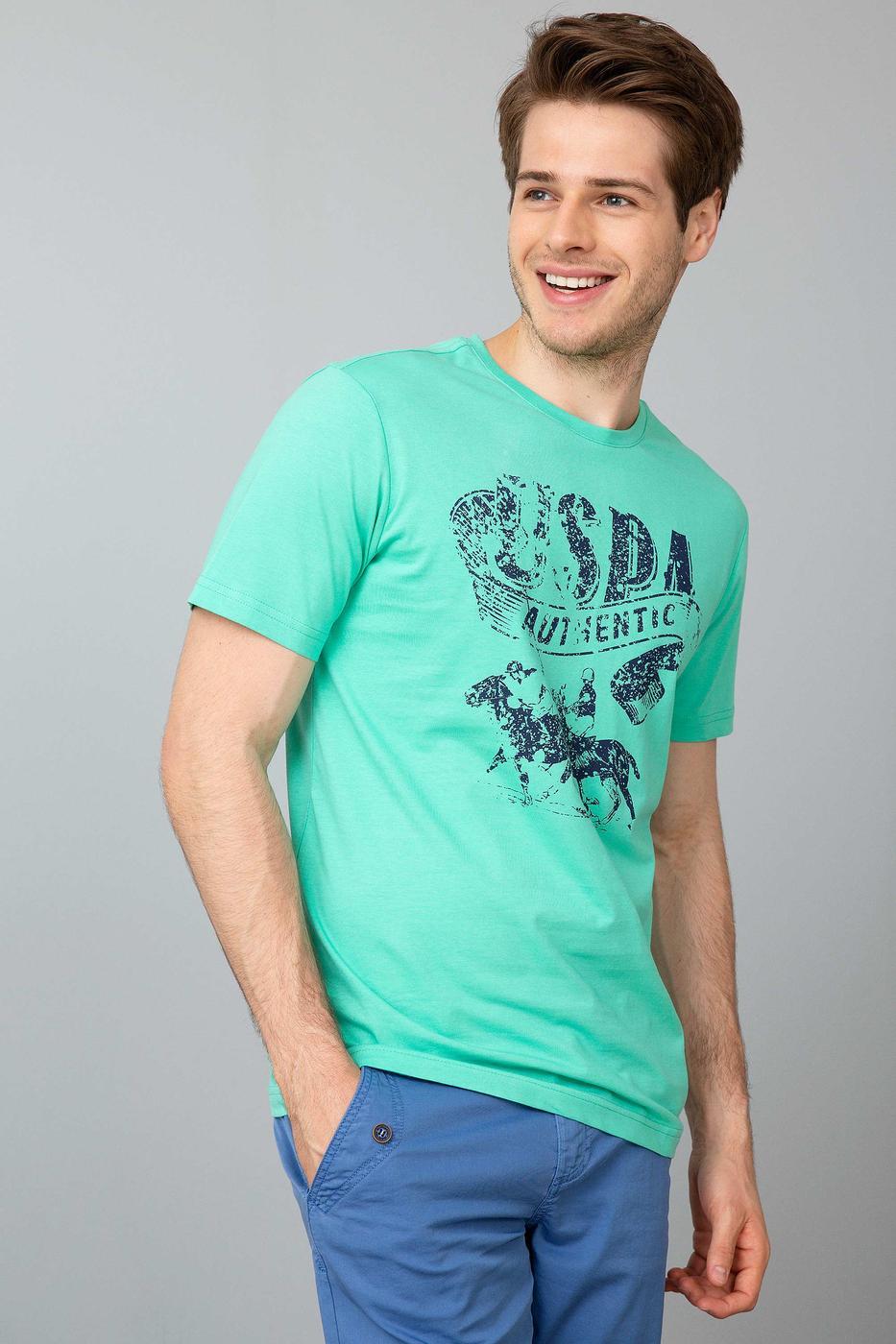 Yeşil Bisiklet Yaka Slim T-Shirt