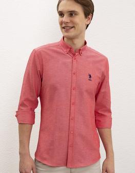 Kırmızı Gömlek Uzunkol Basic