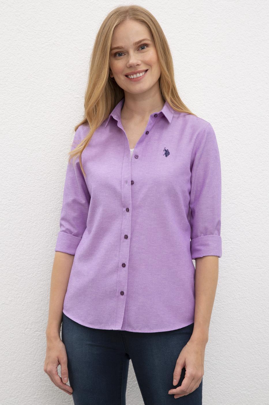 Mor Gömlek Uzunkol Basic
