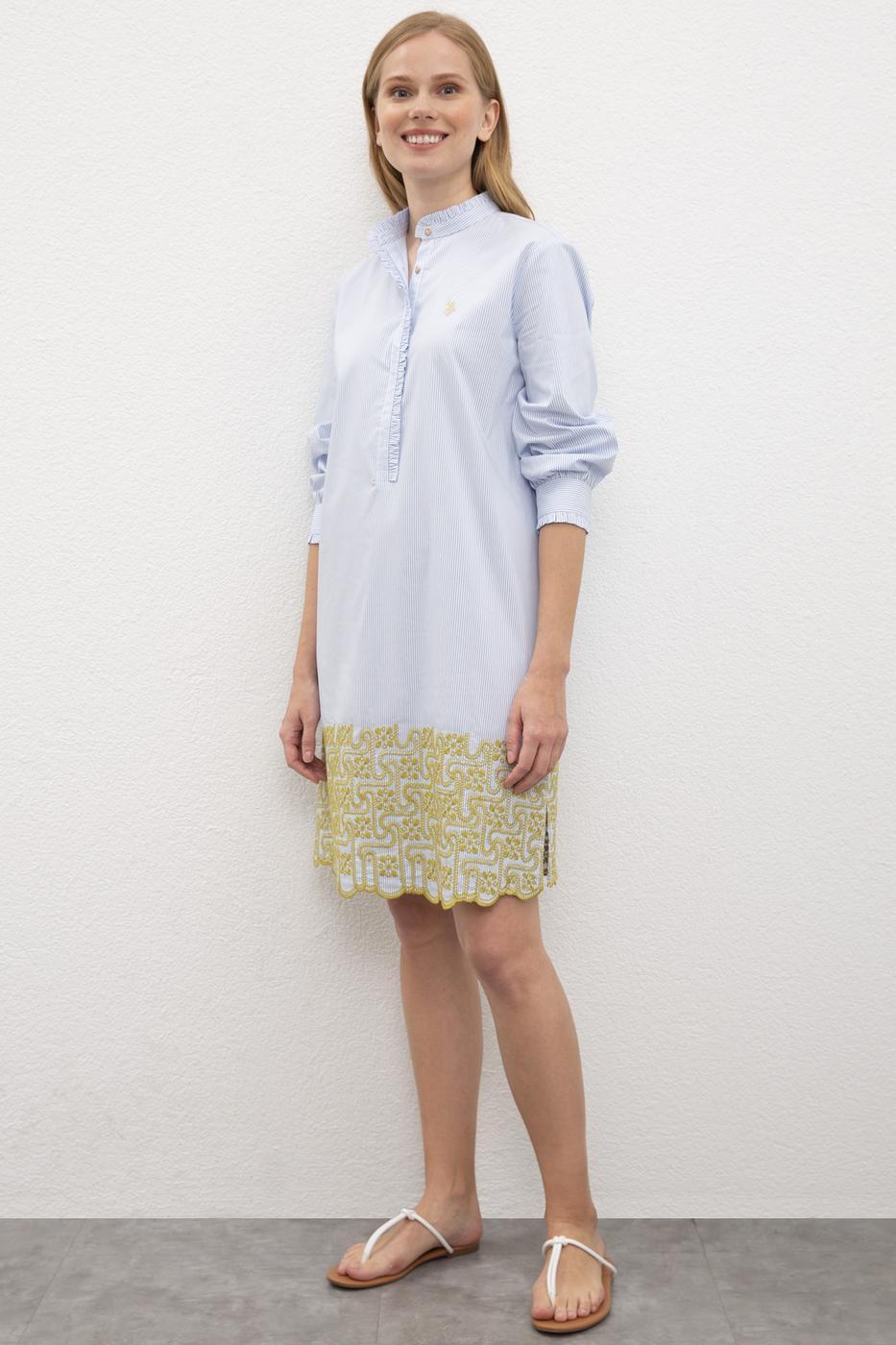 Mavi Dokuma Elbise