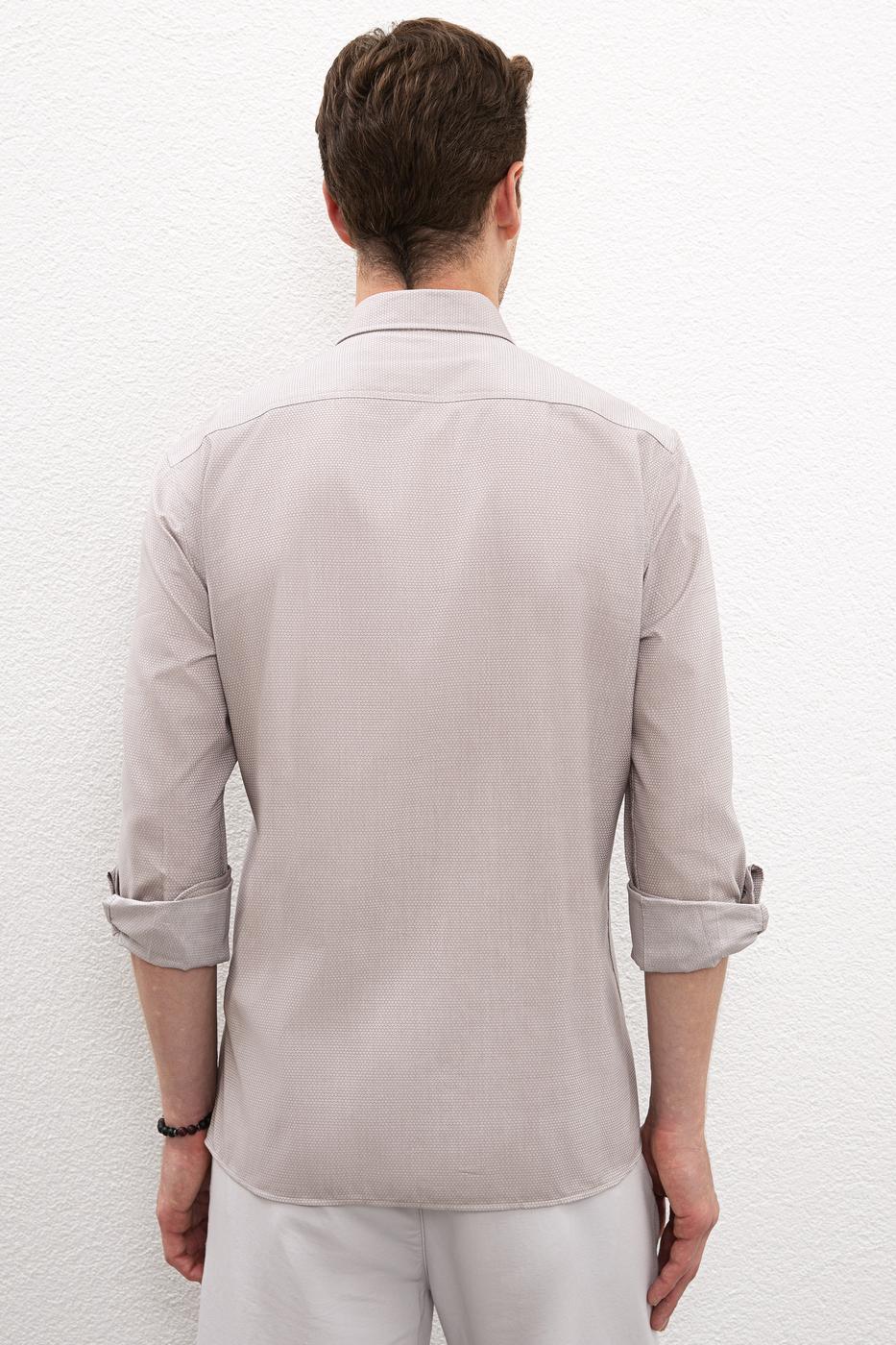 Gri Gömlek Uzunkol Basic