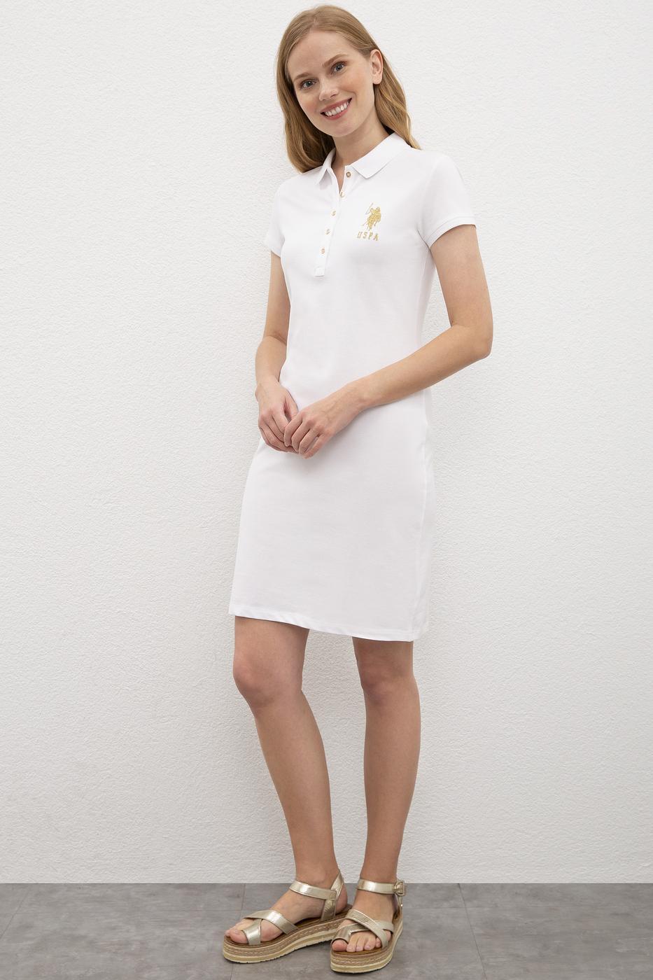 Beyaz Örme Elbise