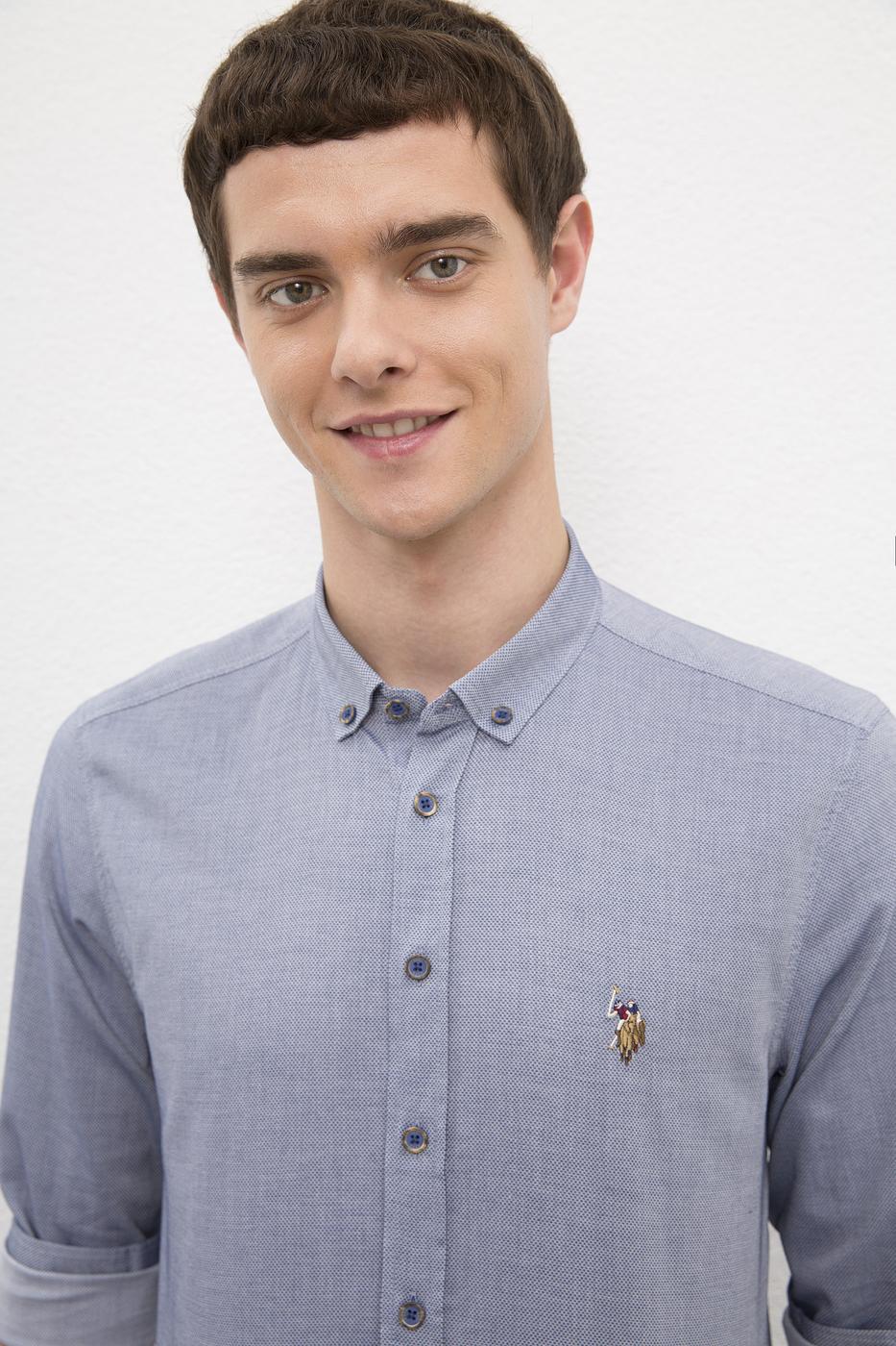 Lacivert Gömlek Uzunkol Basic