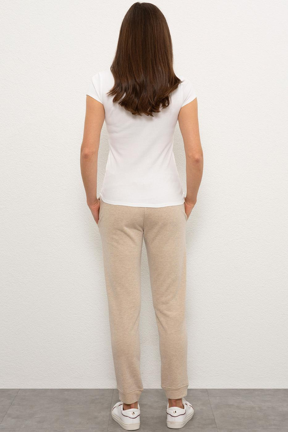 Beyaz Örme Pantolon