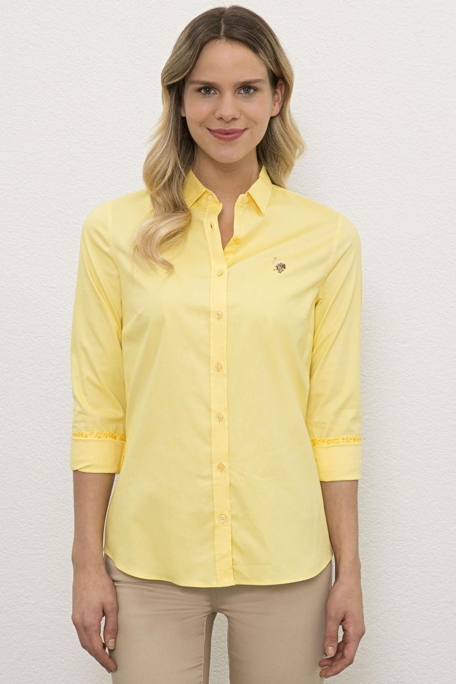 Sarı Gömlek Uzunkol Basic