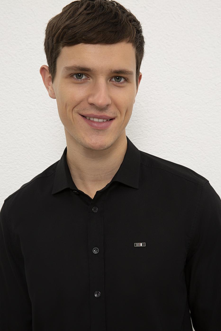 Siyah Gömlek Uzunkol Basic
