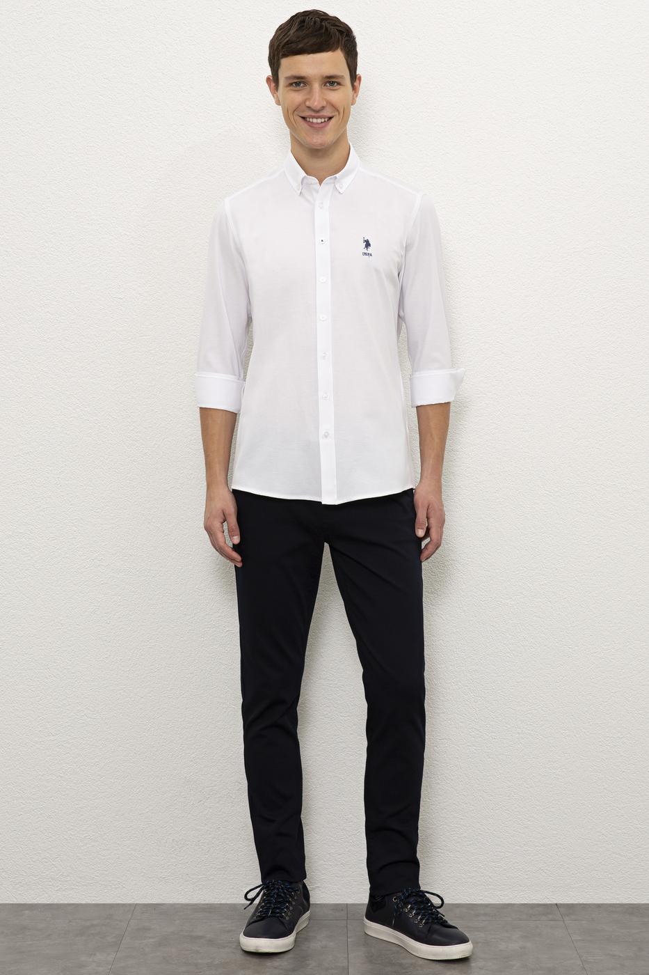 Beyaz Gömlek Uzunkol Basic