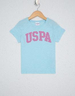 Aqua Mavisi Bisiklet Yaka T-Shirt